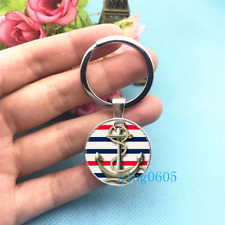 Anchor Art photo Tibet Silver Keychain Rings Glass Cabochon Key chains -22