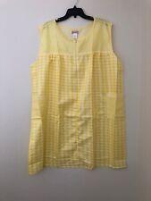 LATI FASHIONS Women's Sleeveless Gingham Zip Duster Yellow Plus Size 3X New