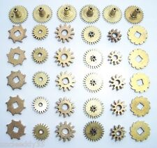 Mixed lot of 36 pieces vintage clock small gears wheels cogs Steampunk Art parts