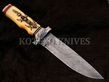 CUSTOM HANDMADE DAMASCUS HUNTING KNIFE CAMEL BONE SCRIMSHAW - BRASS - KX-202