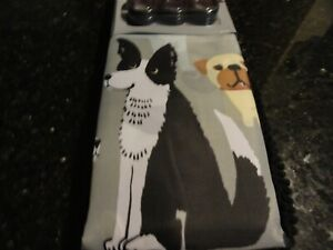 14 pc new fabric SHOWER CURTAIN~DOGS~eyecatching brown RUG Gray Brown White Pups