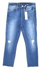 NWT LEVEL 99 Women's STUNE Med. Wash High-Rise Cropped Distressed Jeans ~ 30