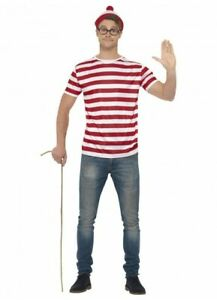 Licensed Where's Wally Costume Kit Top Hat Glasses Wheres Wally Fancy Dress