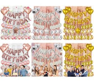 Happy Birthday Decorations Balloons Banners Sets Party Supplies Adults Children
