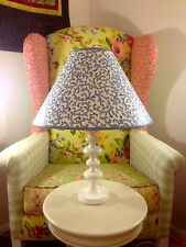 CROSCILL FILIGREE SAVOY LARGE SHABBY CHIC FRENCH COUNTRY LAMP SHADE BLUE WHITE