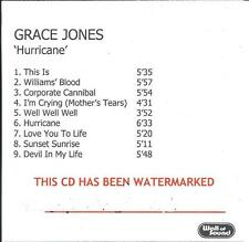 GRACE JONES Hurricane UK 9-trk numbered/watermarked promo test CD
