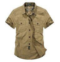 Men Military Short Sleeve Shirts Work Cargo Casual Shirt Cotton Loose Shirt Tops