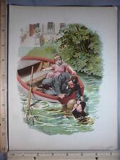 Rare Antique Original VTG 1893 Drowning Boy Eugen Klimsch Color Litho Art Print