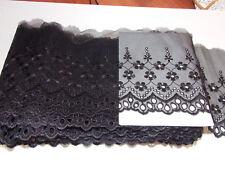 14.5cm wide black embroidered tuile lace bridal wedding dress trim net