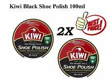 2X Kiwi Shoe Polish Black 50ml Tin Shiner Nourishes & Protector Leather Boot