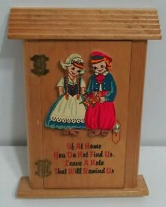 """Vintage Dutch Boy & Girl Hinged Wooden Message Box """"Please Leave A Note"""""""