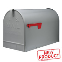 Large Post Mount Mailbox Galvanized Steel Outdoor Rural Parcel Box No Rust Gray