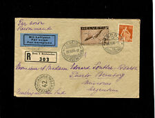 Switzerland 1933  registered commercial airmail to Argentina 2FR60c  franking