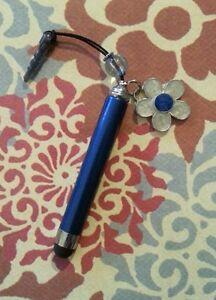 Blue extendable stylus w/ flower charm crystal bead ear bud dust cover handmade