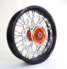 "ORANGE ON BLACK 17"" SUPERMOTO WHEELS SET KTM  MOTARD 320 BRAKE ROTOR W/ BRACKET"