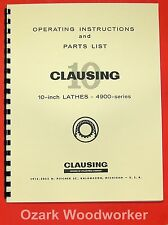 Clausing 10 Metal Lathe 4900 Series Instruction Amp Parts Manual 0132