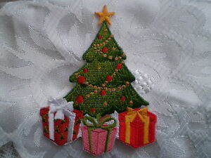 100% EMBROIDERY  DECORATION IRON ON CHRISTMAS TREE PATCH GIFT MOTIF SEW CRAFT