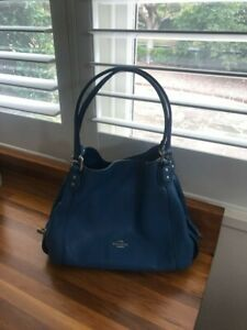 Coach Edie Pebbled Shoulder Bag, Blue