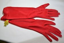 Ladies Matte Red Stretch Gloves Satin (nylon) Below elbow length  One size