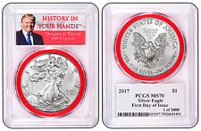 2017 1oz Silver Eagle PCGS MS70 - First Day Issue Red Gasket Donald Trump Label