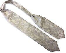Mens Cream Self Tie Ruche Cravat Tie - Silver Paisley Design (For Waistcoats)