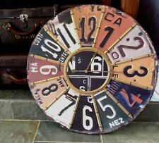 Large 60cm Industrial Licence Number Plate Timber & Metal Wall Clock Man Cave