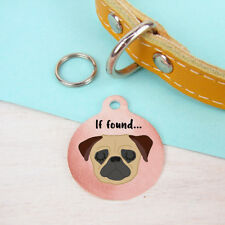Pug dog tag - pet name tag - Pug ID tag - Personalised - Dog charm - Dog keyring