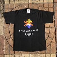 Vintage 2002 Salt Lake City Utah USA Winter Olympic Games M Medium Black T Shirt