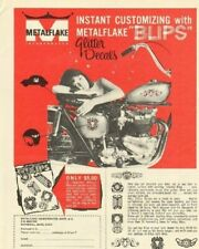 1968 Metalflake ''Blips'' Glitter decals - decorate your motorcycle - Vintage Ad