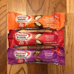 55 Premier Protein Bars Chocolate Peanut Butter Caramel Brownie Low Sugar 20g