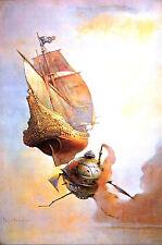 Frank Frazetta The Galleon Pirate Air Ship Vintage Print #25 1975 - NEW