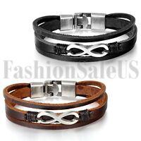 Men's Vintage Multilayer Leather Infinity Symble Cuff Bangle Bracelet Wristband