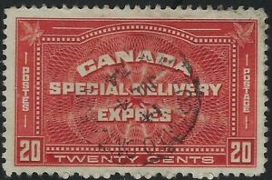 """Canada Scott E4: 20c Henna Brown """"TWENTY CENTS"""" Special Delivery, VF-CDS"""