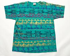 Vintage EZL Mens Tshirt Green Cactus Turtles Desert Tie-Dye All Over  One Size