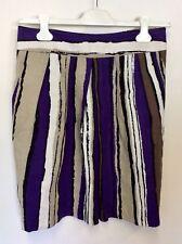 HOBBS PURPLE,BEIGE,BLACK & WHITE STRIPED LINEN ( FLAX) KNEE LENGTH SKIRT SIZE 12