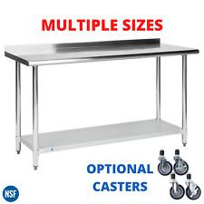 "Work Table 2"" Upturn Backsplash Stainless Steel Kitchen Prep Workstation Casters"