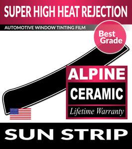 ALPINE PRECUT SUN STRIP WINDOW TINT FILM FOR BMW 328d xDrive 4DR SEDAN 14-16