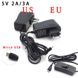 DC 5V 2A 3A Power Adapter Charger Micro USB plug for  Raspberry Pi Zero Tablet