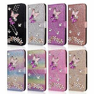 Bling Glitter Butterfly Flip Leather Wallet Case For iPhone 11 Pro Max XXr 8 7 6