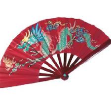 DRAGON PHOENIX BAMBOO WOOD RED FAN Kung Fu Tai Chi Martial Arts Hand Wushu - New