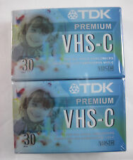 TDK VHS-C Camcorder Blank Tape - 2PK - 30 Minutes - New Old Stock