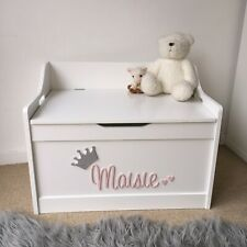 Personalised toy box name & crown ONLY - ANY COLOUR & NAME - Painted Toy Box Set