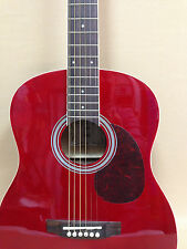 VGS D-Baby 3/4 Size OM Acoustic Guitar – Translucent RED + Gig Bag + Strings
