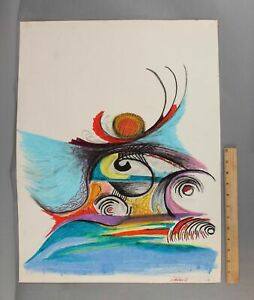 Large 1972 FREDERIC FAILLACE Mid-Century Modern Abstract Oil Pastel Drawings