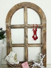 Deko Fensterrahmen Fenster Holz  Sprossenfenster Rundbogen Vintage Shabby 49cm