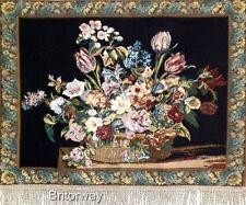 Tapestry Wall Hanging Art Italian Style Still Life Floral Flower Backed Finished