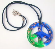 New Glass Peace Symbol Necklace Blue Green Suede Cord Gold Foil Inside