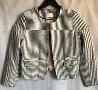 Kenar Sz L White Black Striped Fly-Away Open Jacket Blazer