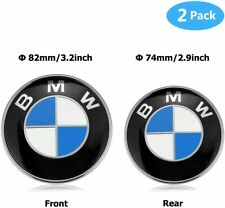 BMW 2 Pieces High Quality Logo Front Hood and Rear Trunk Emblem Badge 82mm+74mm