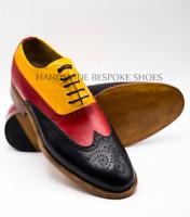 Hommes Fait main Noir, rouge et havane Oxford Lacer Formel Chaussure